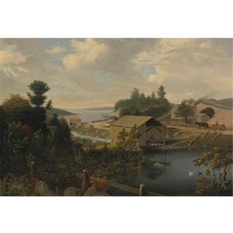 the old mill at goose cove, annisquam, gloucester by fitz henry lane