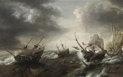 vessels in stormy water two boats shipwrecked near the rocks one with the coat of arms of zeeland by bonaventura peeters the elder