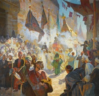 the procession of the mahmal through the streets of cairo by ludwig deutsch