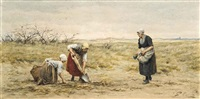 women gleaning potatoes by philip lodewijk jacob frederik sadée