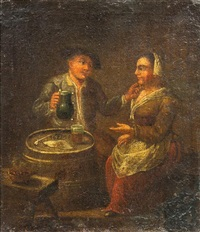 man and woman drinking by david teniers the elder