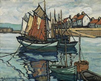untitled (fishing boats in a normandy port) by hale aspacio woodruff