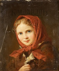 крестьянская девочка в красном платке by nikolai y. rachkov