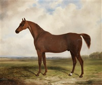 a chestnut horse in a landscape by william barraud