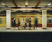 women in the s-bahn (still from the rape of the sabine women) by eve sussman