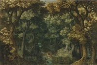 a wooded river landscape with a stag hunt by david vinckboons