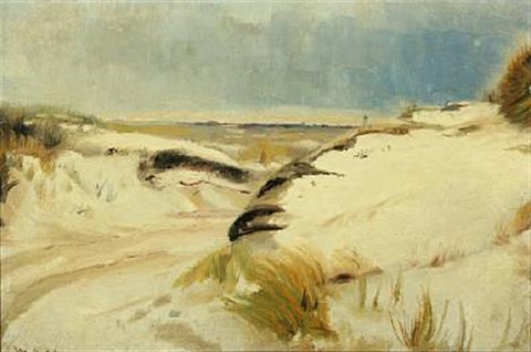 view from the beach with gravel through the dunes by michael peter ancher