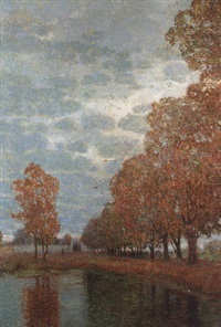 an avenue of trees on a windy day by rudolf quittner