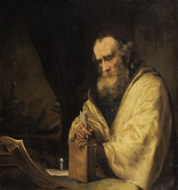 philosopher (or apostel) with quill and book by ferdinand bol