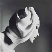 model in white turban by richard avedon
