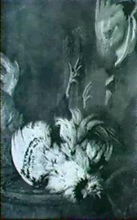 a still life of a rooster and a mallard hanging over a   wooden barrel by abraham de haen the elder