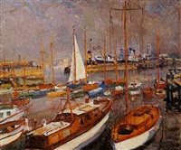 harbour scene by maurice paul