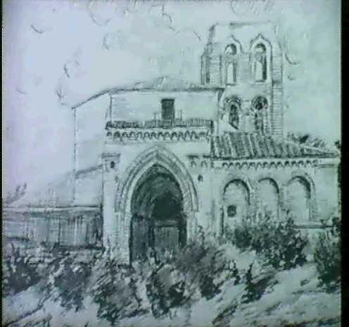 vista del pueblo atraves de la iglesia; en jarras; portada de la iglesia; y la ermita (4 obras) by serafín avendaño