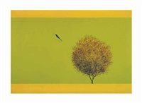 untitled (bird and tree) by jagdish swaminathan