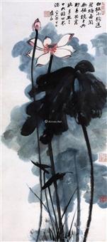 彩墨荷花 设色纸本 by zhang daqian