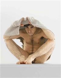 man under cardigan by ron mueck