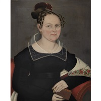 fashionable lady with shawl and book by ammi phillips