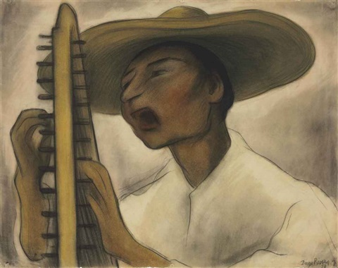 harp player by diego rivera