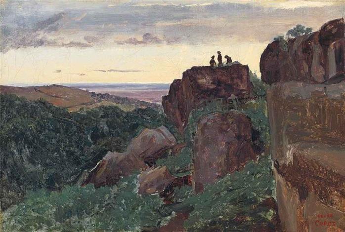 marino, italie - trois personnages au sommet des rochers by jean-baptiste-camille corot