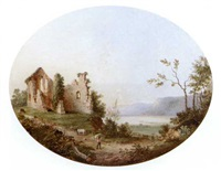 ruins by a lake with a herdsman and cattle in the foreground by andrew andrews