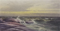 boats on a rough sea by james peter quinn