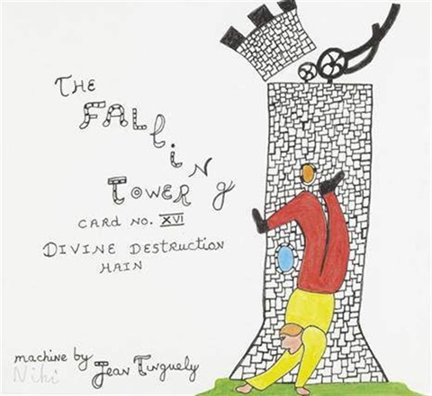 the falling tower carte n° xvi by niki de saint phalle