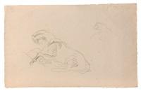 etude de cheval allongé pour 'saint paul sur le chemin de damas;, reprise de la tête en haut à droite (+ 3 others; 4 works) by eugène delacroix