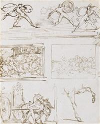 romains combattant et études pour la course de chevaux libres by théodore géricault