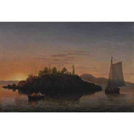view of camden mountains from penobscot bay by fitz henry lane
