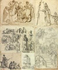 sept croquis assemblés dans un montage ancien dont deux à thème vénitien et une copie d'après un maître ancien by hubert robert