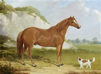 a chestnut horse and spaniel in a landscape by william barraud
