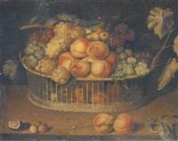 corbeille de pêches, raisins et prunes sur un entablement by paul dorival