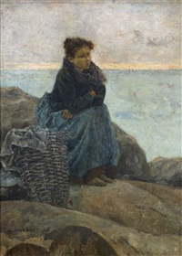 fischermädchen am strand by pierre billet