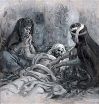 autour d'un mourant (study) by alphonse etienne dinet