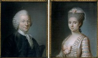 portrait de jeune femme au ruban rose (+ portrait d'homme; pair) by marie elisabeth ozanne