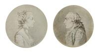 portrait de jean le rond d'alembert (+ portrait de julie lespinasse; pair) by augustin de saint-aubin