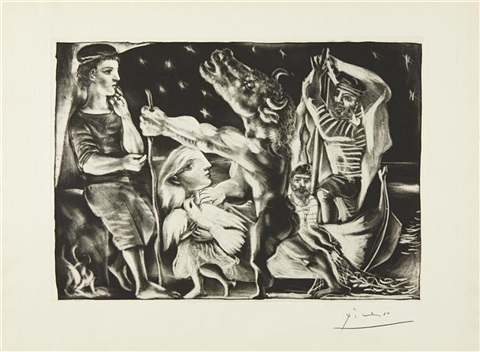 minotaur aveugle guidé fillette dans la nuit (blind minotaur guided by a young girl in the night), plate 97 from la suite vollard by pablo picasso