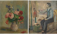 peintre à son chevalet ((+ village (fauve))(+ vase fleuri, oil on canvas), various sizes; 3 works) by maurice reynaert