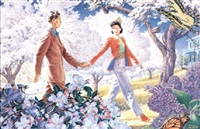 couple walking in springrime orchard by paul rabut