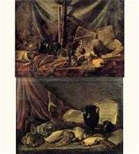 natures mortes de coquillages, vases et instruments de musique sur des entablements recouverts de tapis (pair) by adriaen (lossenbruy) honich