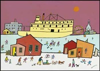 carcross in winter by ted harrison