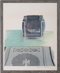 corbusier chair and rug by david hockney