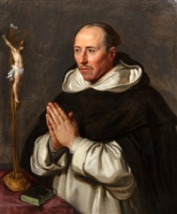 a monk praying, presumably saint thomas aquinas by sir peter paul rubens