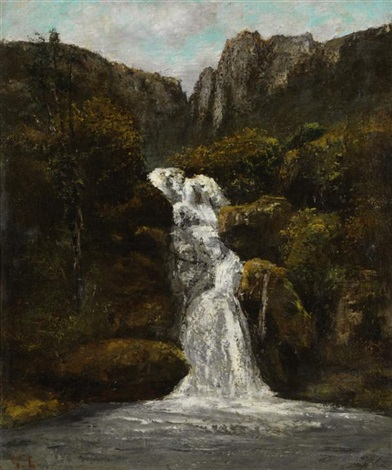 la cascade (in collaboration) by gustave courbet