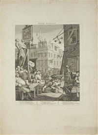 beer street and gin lane (2 works) by william hogarth