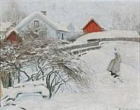 a snowy day in the garden by karl johannes andreas adam dørnberger