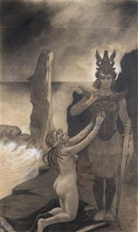 frontispice pour la partition de l'opéra armor de silvio lazzari by armand rassenfosse