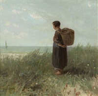 untitled (woman by the sea) by jozef israëls