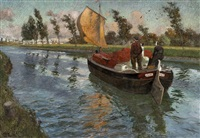 river boat in speed by frits thaulow