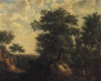 figures on a path in a woodland landscape by maximilien lambert gelissen